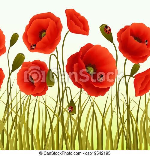 klaproos gras seamless behang tekening csp19542195 - Gras Behang