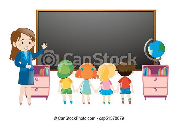 klasa, dzieciaki, nauczyciel - csp51578879