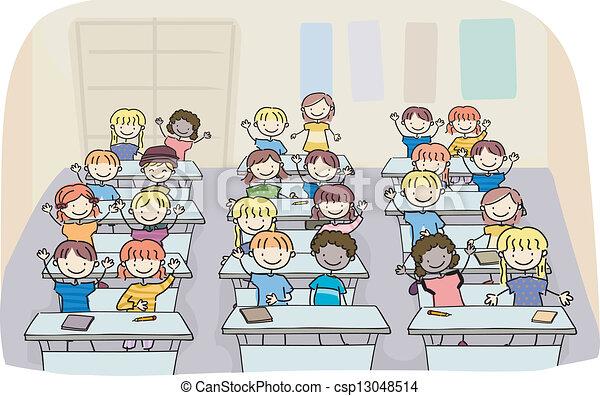 klasa, dzieciaki, wtykać - csp13048514