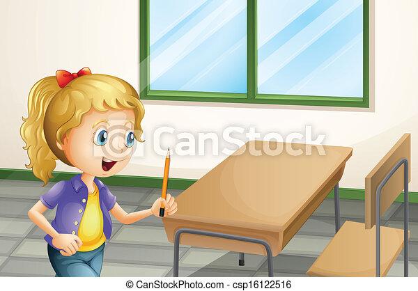 klasa, ołówek, wnętrze, dziewczyna, dzierżawa - csp16122516