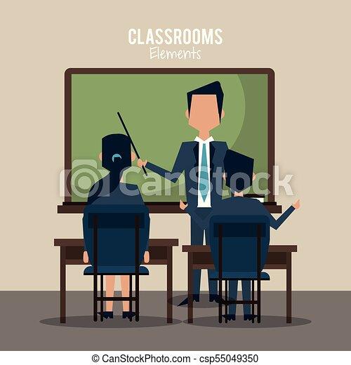 klasa, rysunek, nauczyciel - csp55049350