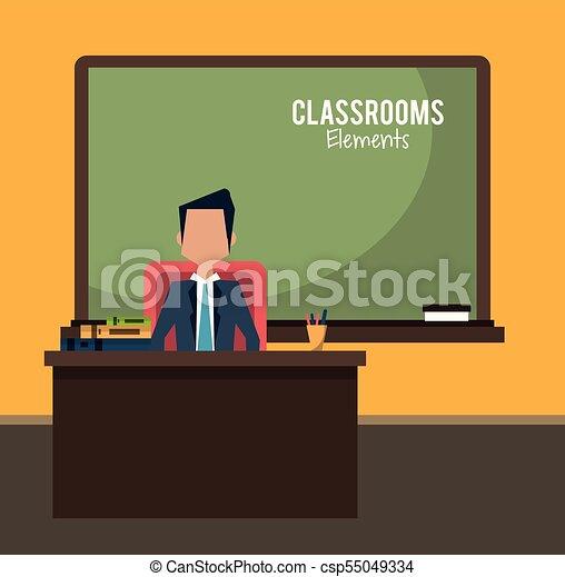 klasa, rysunek, nauczyciel - csp55049334