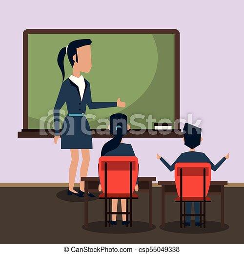 klasa, rysunek, nauczyciel - csp55049338