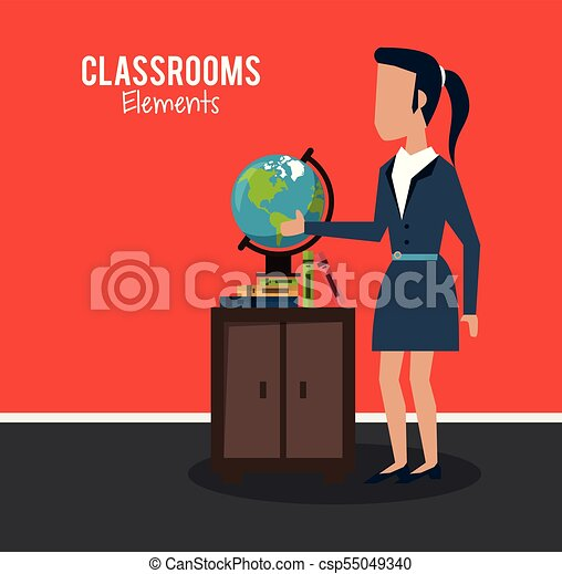 klasa, rysunek, nauczyciel - csp55049340