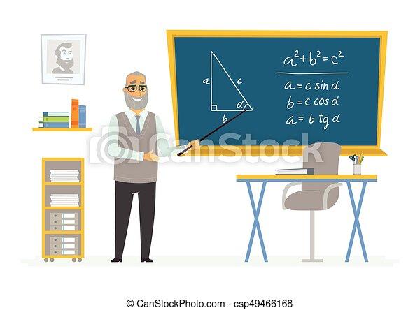 Klassenzimmer clipart  Clipart Vektorbild von klassenzimmer, geometrie, tafel, -, lehrer ...