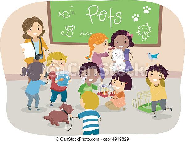 Klassenzimmer clipart  Vektor Illustration von klassenzimmer, kinder, stickman, haustiere ...