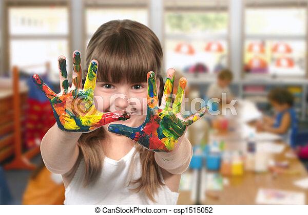 klassenzimmer, kindergarten, gemälde - csp1515052