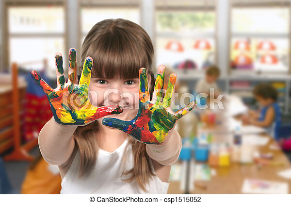 klasseværelse, børnehave, maleri - csp1515052