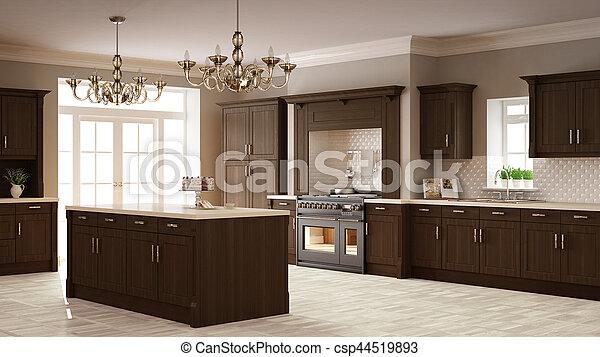 Klassische Küche, elegantes Interieur mit Holzdetails - csp44519893