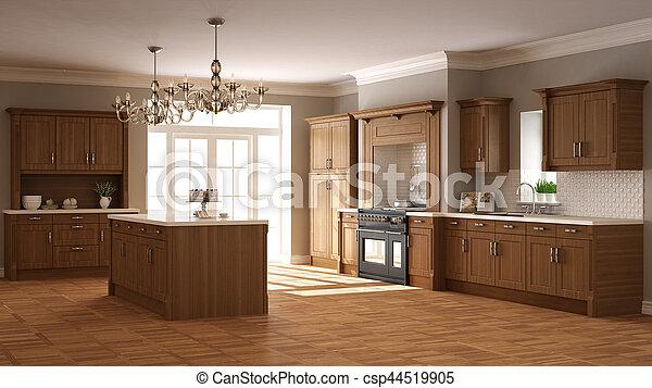 klassisch, hölzern, kueche , elegant, design, details, inneneinrichtung - csp44519905