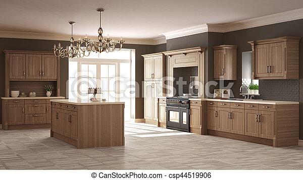 klassisch, hölzern, kueche , elegant, design, details, inneneinrichtung - csp44519906
