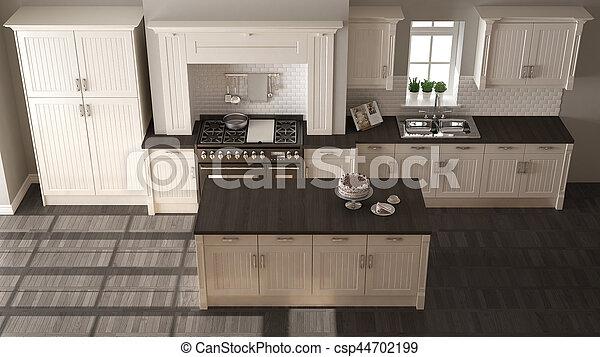 Klassische Küche, elegantes Interieur mit Holzdetails - csp44702199