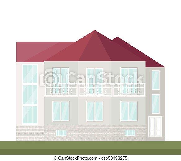 klassisch, house., abbildung, vektor, architektur, hintergrund, fassade - csp50133275