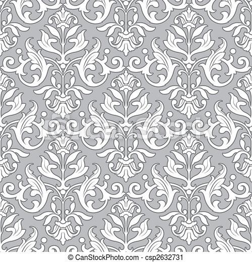 klasszikus, motívum, tapéta, -, seamless, virágos - csp2632731