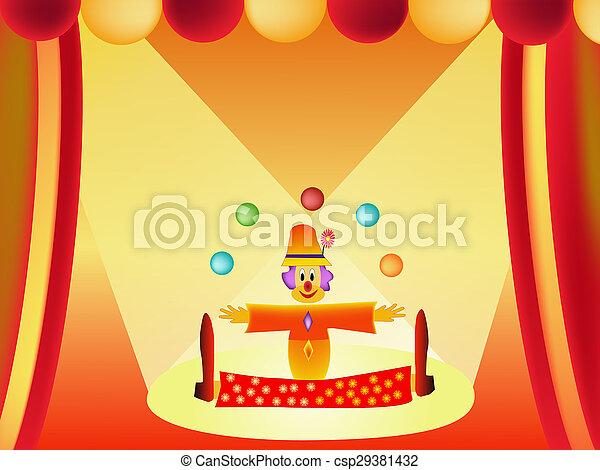 klaun, karikatura, ilustrace - csp29381432