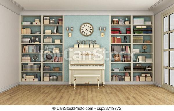 Bücherregal Klassisch klavier bücherregal livingroom klassisch stock illustrationen