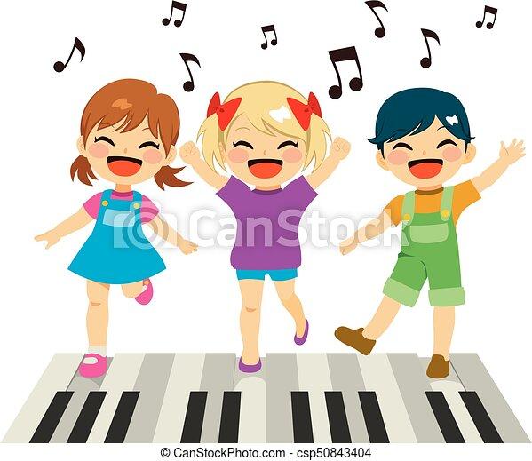 Klavier, kinder, spielende . Reizend, wenig, kinder, boden ...