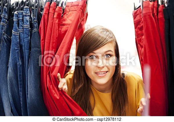 kleding, zoeken, verbergen, winkel - csp12978112