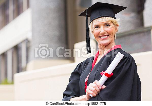 kleid, frau, kappe, studienabschluss, mittelalt - csp18821775