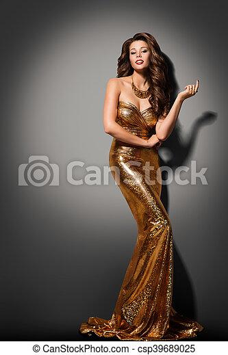 Kleiden, mode, gold, kleid, glanz, elegant, frau, posierend ...