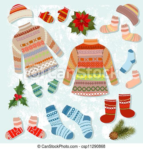 Ein Set warmer Winterkleidung - csp11290868