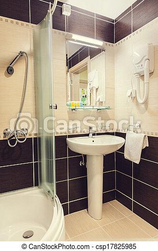 Klein, badezimmer. Klein, inneneinrichtung, modern, bathroom.