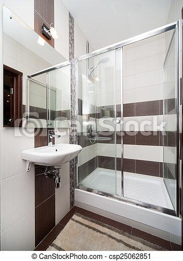 Klein, badezimmer, modern. Brauner, badezimmer, modern ...