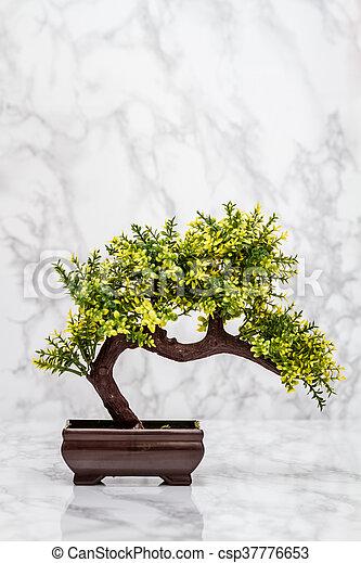 Klein, bonsai baum, künstlich. Bonsai baum, künstlich, hintergrund ...