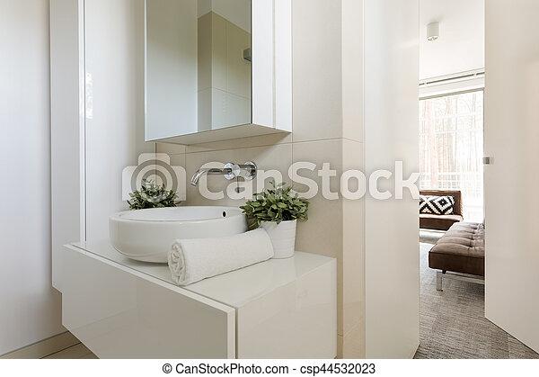 klein, licht, badezimmer- spiegel