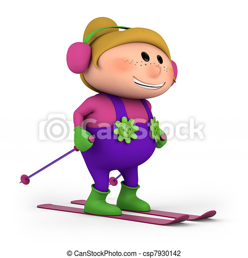 klein meisje, skien - csp7930142