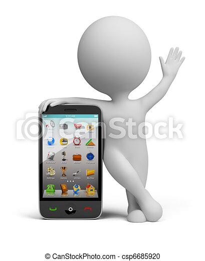 klein, smartphone, -, 3d, leute - csp6685920