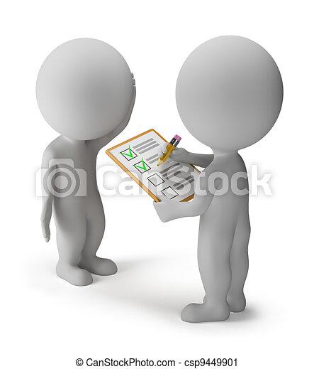 kleine, -, 3d, onderzoeken; inspecteren;, mensen - csp9449901