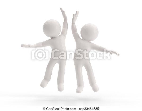 kleine, 3d, -, succes, mensen - csp33464585