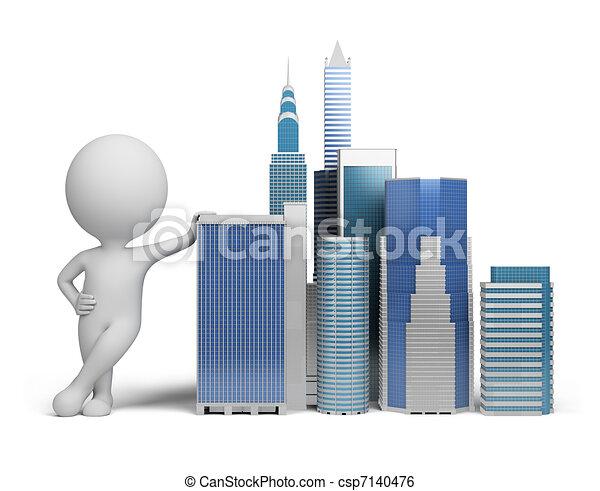 kleine, 3d, -, wolkenkrabbers, mensen - csp7140476