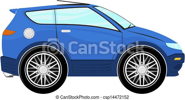 kleine, blauwe , spotprent, auto - csp14472152
