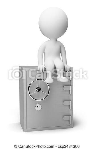kleine, brandkast, -, 3d, mensen - csp3434306