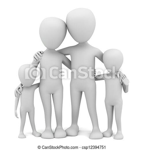 kleine, family., 3d, -, mensen - csp12394751