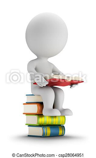 kleine, mensen, boekjes , 3d, zittende  - csp28064951