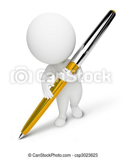 kleine, people-pen, 3d - csp3023623