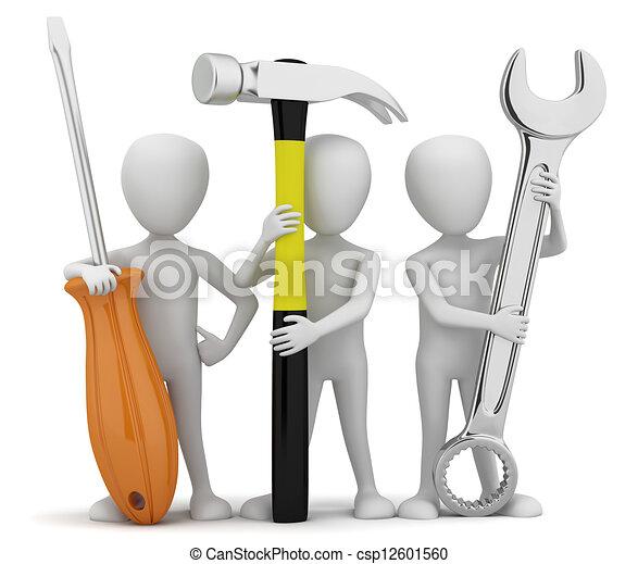 kleine, repairers., 3d, mensen - csp12601560