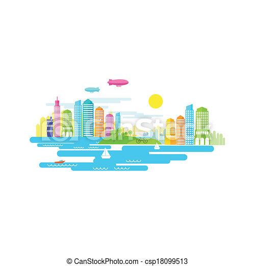 kleine, stad, vector - csp18099513