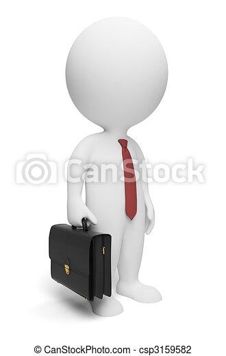 kleine, zakenman, 3d, -, mensen - csp3159582