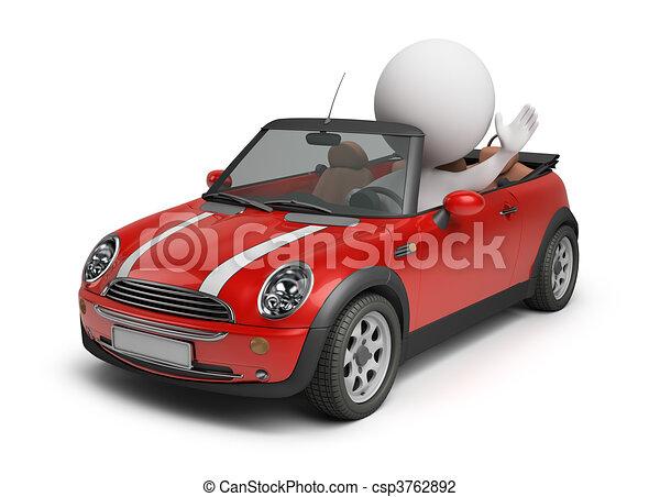 kleines auto, 3d, -, leute - csp3762892