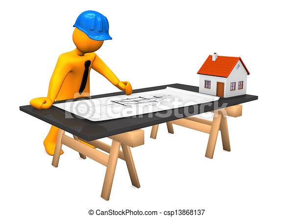 Suche Architekt kleines haus architekt blaues helm orange zeichen