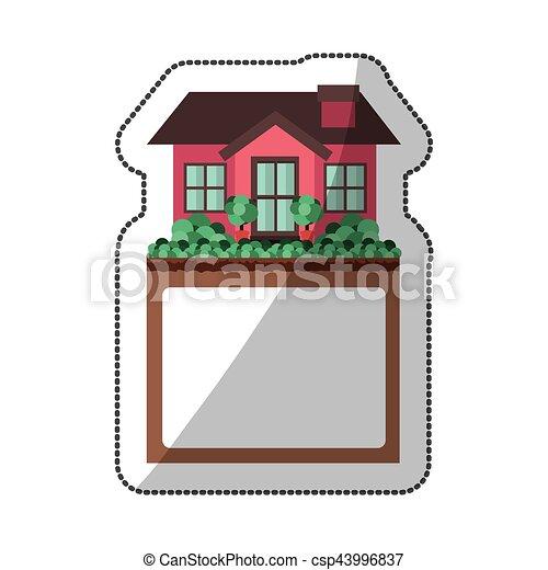Kleines Haus, Aufkleber, Design, Etikett   Csp43996837