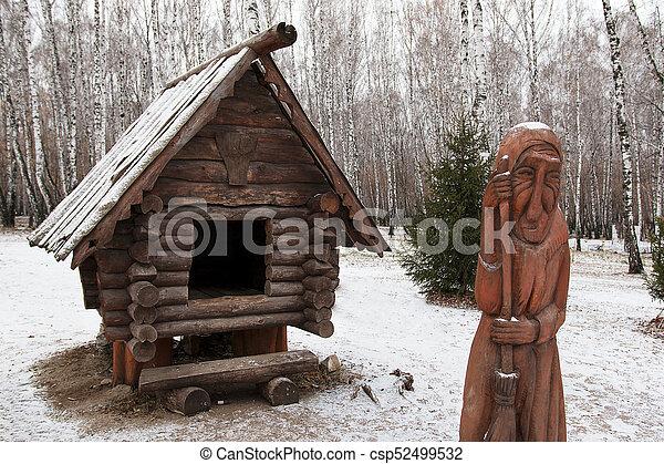Kleines Holzhaus Im Winter