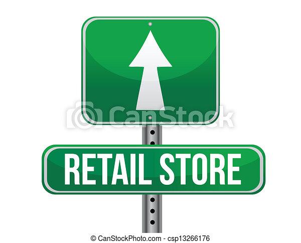 kleinhandelswinkel, wegaanduiding - csp13266176