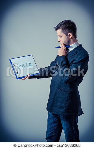 klembord, zakenmens  - csp13686265