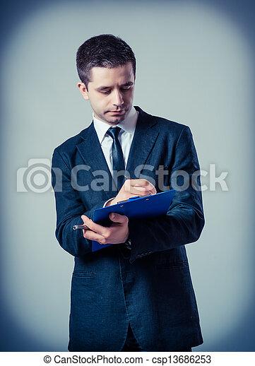 klembord, zakenmens  - csp13686253