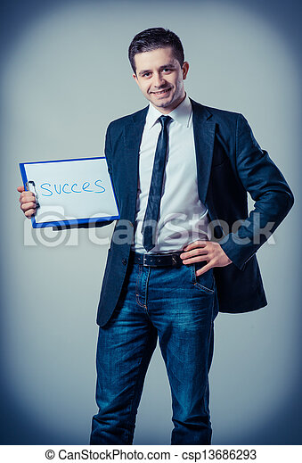 klembord, zakenmens  - csp13686293